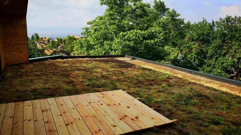 Лек плосък зелен покрив